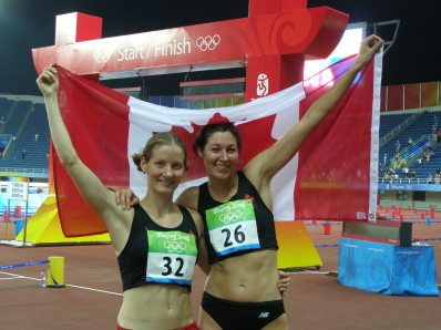 PEI pentathlete Kara Grant (left) strikes a pose before competing in the controversial 2008 games